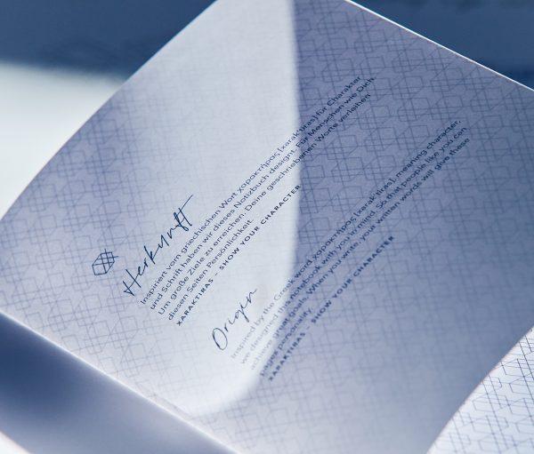 Xaraktiras Design-Notizbuch Herkunft