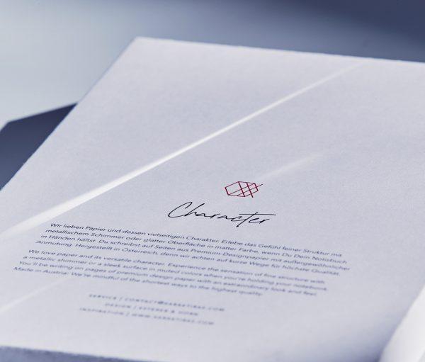 Xaraktiras Design-Notizbuch Verpackung hinten